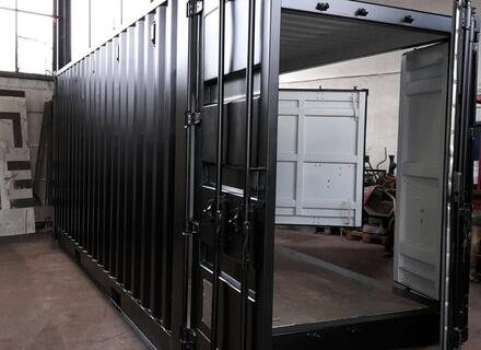 Messecontainer, Eventcontanier, Container Sonderbau, RAL 9005 Tiefschwarz