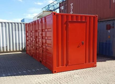20ft. Side Door Seecontainer , RAL 3000 Feuerrot, mit Personaltür